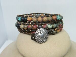 Leather Wrap Bracelet With Natural Stones
