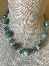 """Glass Bead Pebble Blue Stripes  Silver Tone  Chain Turquoise Color Necklace  18"""""""