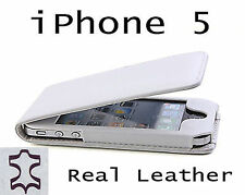 White Real Leather Case,Pouches For The Apple iPhone 5