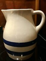Roseville Ransbottom pottery pitcher cream with blue stripes RRP. CO. #303-H