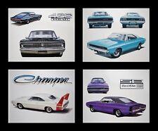 4 DODGE PRINTS POSTERS CHARGER R/T DAYTONA 500 1966 1967 1968 1969 1970 426 HEMI