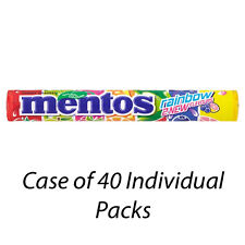 MENTOS RAINBOW CHEWY SWEETS 37.5g x 40 INDIVIDUAL PACKETS CHEWS WHOLESALE 98189
