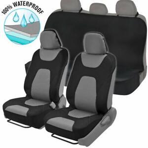 Gray/Black Waterproof Neoprene Full Seat Cover Set Sideless Front Car Truck SUV