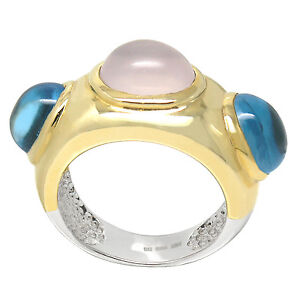 De Buman 18k Yellow Gold and Sterling Silver Genuine Rose Quartz and Topaz Ring