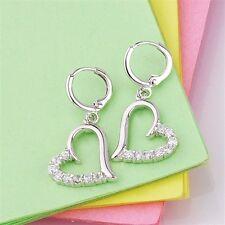 18K White Gold Filled Clear Cz Heart Dangle Earrings (E-263)