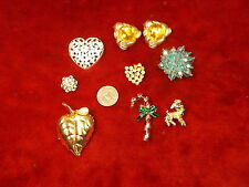 #6 OF 11, LOT OF OLD VTG RHINESTONE BROOCHES, EARRINGS, CHRISTMAS, SOLID PERFUME
