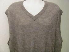 NEW 2XL 2X XXL 100% GENUINE Un-Dyed ALPACA V-NECK Sweater VEST GREY GRAY $150