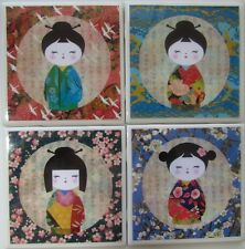 New listing Set of 4 - Natural Stone Ceramic Tile Marble Drink Coaster - Kokeshi 6 - A