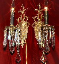 Pair Vintage Gilt Bronze Brass Crystal lamp 1lite Sconces Rococo French Spanish
