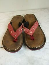 Clarks Red Sunbleached Stitched Leather Flip Flop Sandals Women's Size 6