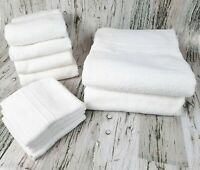 Everyday Essentials 10 pc Towel Set Bath Hand Face Wash Cloth White 100% Cotton