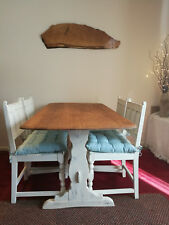 Ercol Vintage Refectory Table And Four Old Colonial Chairs