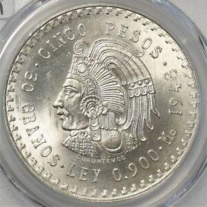 Mexico 1948 Mo Silver 5 Peso Cuauhtemoc MS 66 PCGS 865I