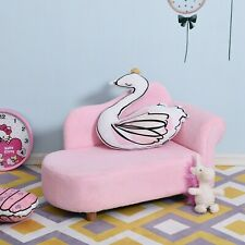 Homcom Children Kids Velvet Chaise Lounge Sofa Day Bed Couch Seat Pink