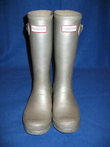 Kids Hunter Girls Original Metallic Mid-Calf Pull On Rain Boots, Silver 4G/3B