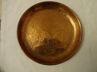 Vintage Round Hammered Copper Tray Leaf Design Diameter 25 cm Weight 400 grams