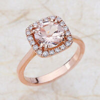 2.30ct 8MM Round Morganite & Diamond Engagement Wedding Ring 14K Rose Gold PD56S