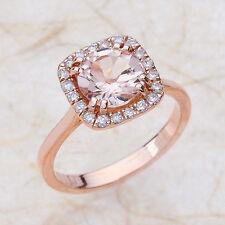 2.30ct 8MM Round Morganite & Diamond Engagement Wedding Ring 14K Rose Gold PD127