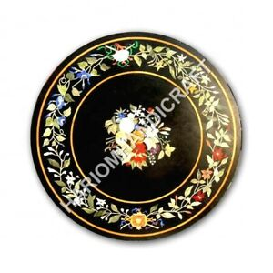 "32"" Marble Round Black Dining Table Top Interior Inlay Handmade Art Decor E1075A"