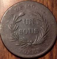 "1835-1838 CANADA UN SOU ""BR#.714"" IN GOOD CONDITION"