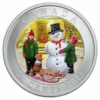 SNOWMAN 2013 Canada 50 cent 3D Lenticular coin. Comes with COA and case.