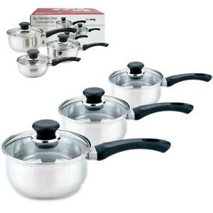 3Pcs Stainless Steel Non Stick Saucepan Set with Lids Induction Hob Cooking Pot