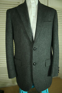 Brook Taverner Mens Grey Herringbone Wool Sports Jacket Blazer SIZE: 39R