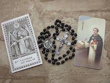 Catholic Rosary ST. THOMAS AQUINAS center medal Black wood + Vintage holy card