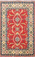 2x3 ft Hand-Knotted Vegetable Dye Super Kazak Oriental Area Rug Red Wool Carpet