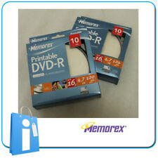 Pack 20 DVD -R 4.7GB 120m 16x PRINTABLE Virgenes dvd-r en Tarrina Bobina Memorex