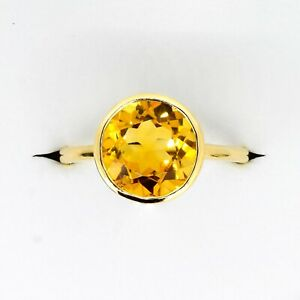 Round Cut Natural Citrine Dress Cocktail Ring in 9K Yellow Gold
