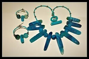Handcrafted Blue Agate Sticks and Stones Necklace & Earrings Set