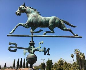 "48"" Vtg COPPER HORSE WEATHERVANE, Antique Metal Running Full Body Lightning Rod"