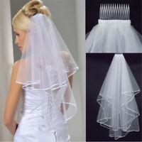 Elegante Schönheit zwei Schichten kurze Net Tüll Braut Schleier für HH 2c G4SBOD