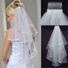 White Elegant Beauty Two Layers Short Nets Tulle Brides Veil for Wedding I9p