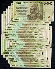 500,000 Zimbabwe Dollars x 20 Bank Notes 500 Thousand ~ Pre Million 100 Trillion