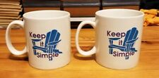 Lot of 2 Life Is Good Keep It Simple Large Ceramic Coffee Mugs Lawn Chair