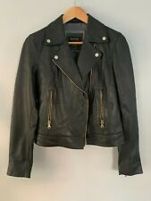 MASSIMO DUTTI WOMEN'S GENUINE LEATHER BIKER JACKET - NEW W/OUT TAGS - BLACK - SM