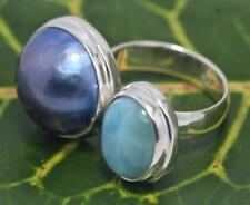 Handmade Sterling Silver .925 Bali Oval Larimar and Blue Mabe Pearl Ring Sz 6.5.