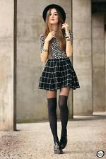 New H & M Black/White Plaid Check Mini Skirt  UK  M                    B50