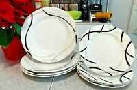 "LENOX FINE CHINA 7PC. DINNERWARE SET in the MODERN BLACK and GREY ""VIBE"" PATTERN"