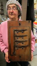 WOOD industrial factory mold / folk art item / 2 sided thick old steampunk item