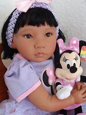"""Reborn 22"""" Asian/Ethnic/Japanese/Korean/chinese Toddler Girl Doll """"Miyu"""" w. Minn"""
