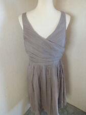 Women's J crew Grey Sleeveless Dress Lined 100% Silk Crinkle Size 12 Wedding