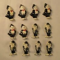 VINTAGE RETRO 80s LAUREL & HARDY COMEDY COMEDIANS NOS PIN LOT of 12 FREE SHIP AS