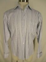 Paul Smith Mens Blue Stripe French Cuff Cotton Dress Shirt 42 17-34/35