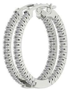 Genuine Diamond 1.02 Ct VS1 E InOut Side Hoops Earrings 14K White Gold Prong Set