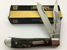 Schrade Imperial Trapper Knife Black Marble Acrylic SS Spey Clip IMP16T S-722