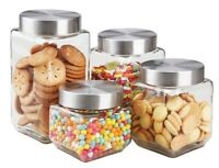 Home Basics NEW 4-Piece Clear Glass Food Organizer Canister Set Square - CS10438