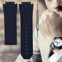 Black Rubber Watch Band Strap 30mm For Hublot King Power F1-Free Spring Bar